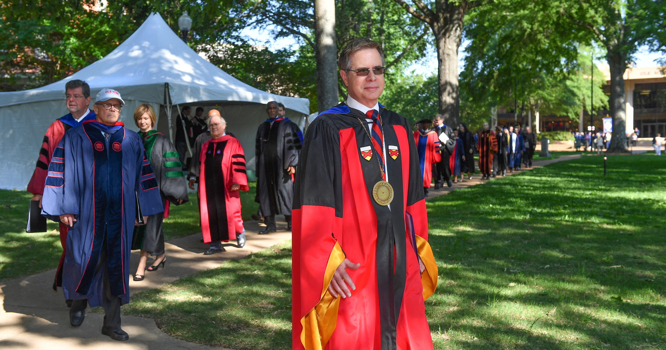 Chancellor Jeff Vitter approaches the commencement ceremony in May 2016